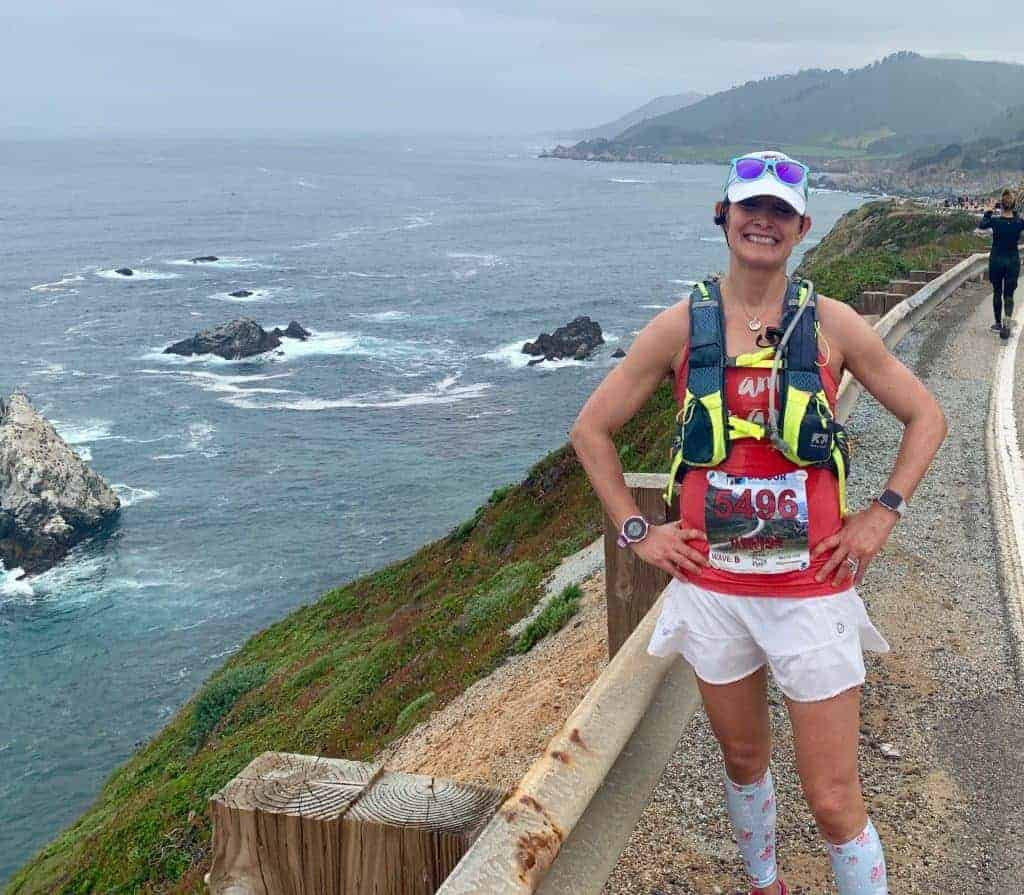 Big Sur Marathon race photo of flowers and ocoean