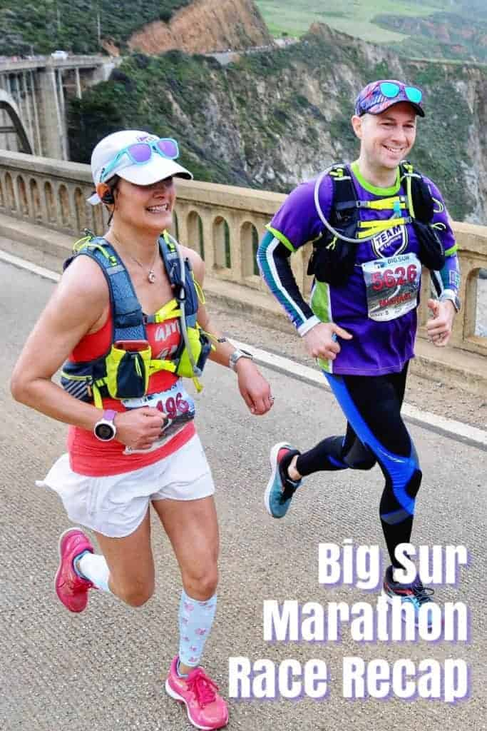 Big Sur Marathon Race Recap and female runner on Bixby Bridge