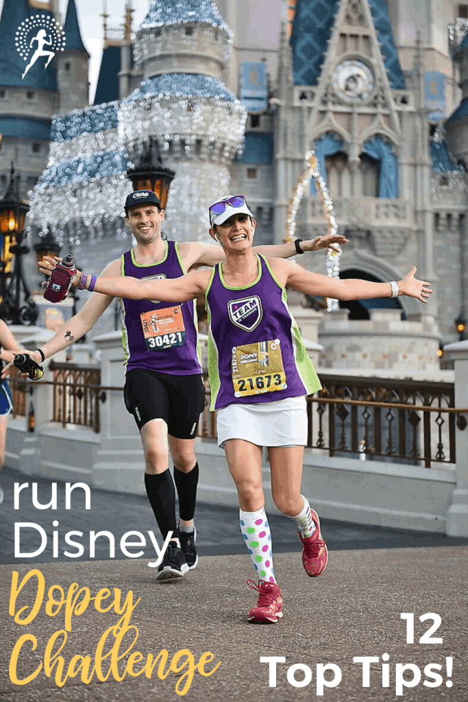 12 Top Tips to ensure your first or next runDisney Dopey Challenge is awesome! Race overview & key tips to maximize the fun & memories while managing fatigue! #running #runningtips #dopeychallenge #rundisney #runningglow