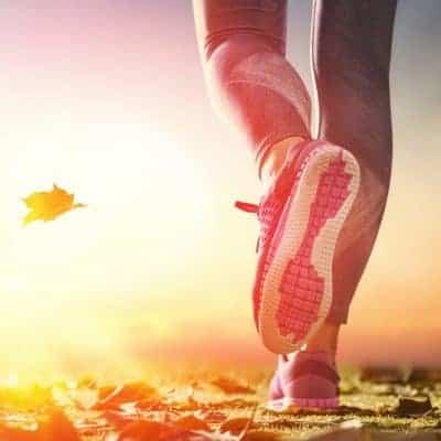 female runner shoe doing run walk method