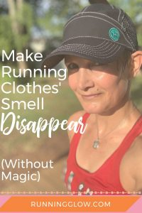 Female runner in sweaty running clothes that smell