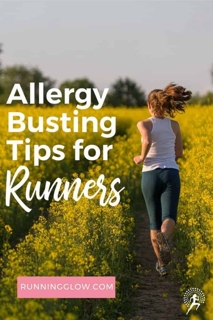 female runner on a trail among seasonal flowers and allergies